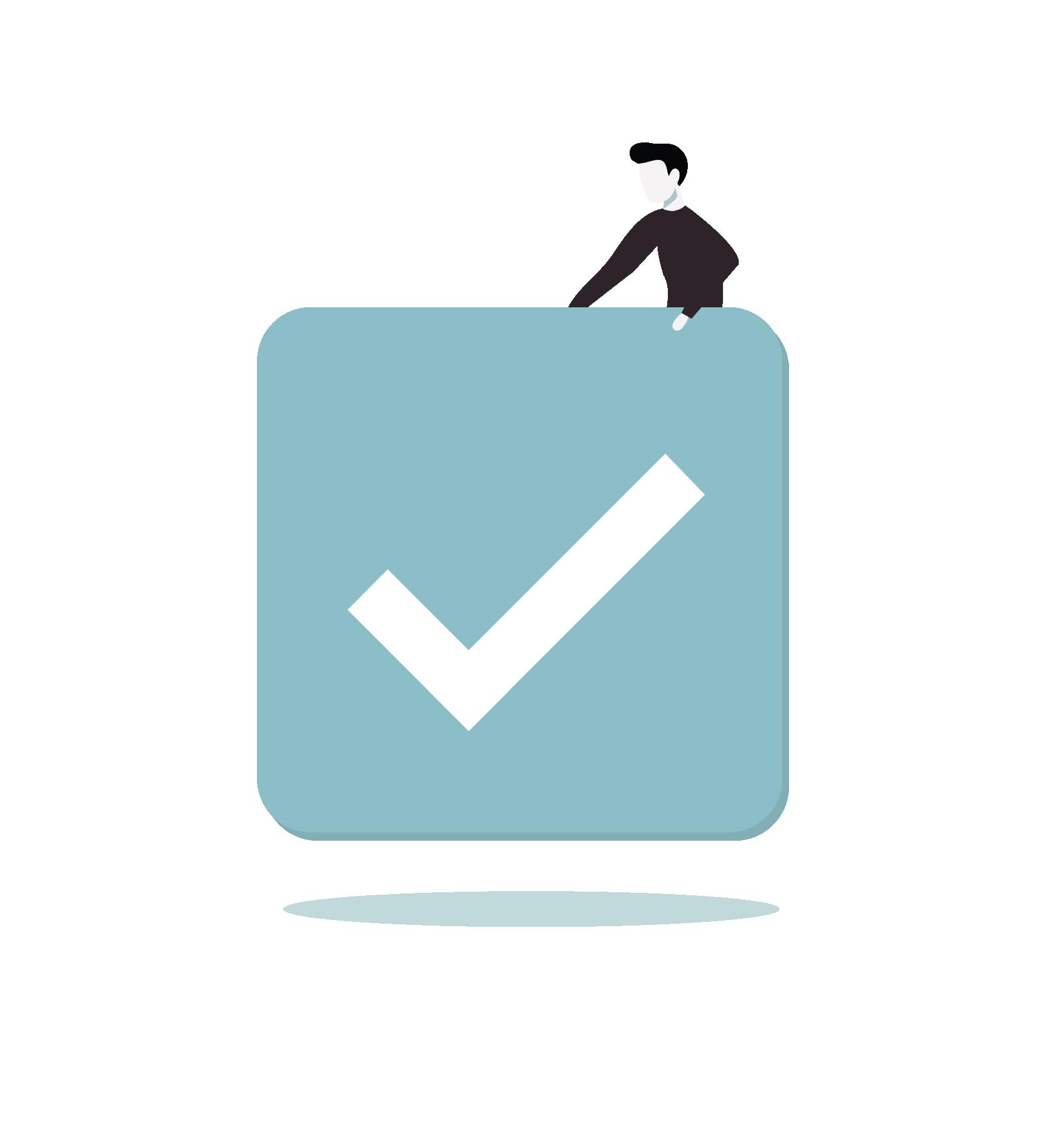 Illustrasjon av check-tegn.