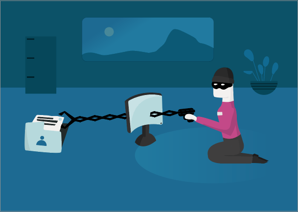 Person trying to steal personal information from a computer